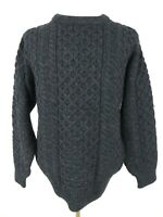 Celtic Country Men's Sweater Size M Dark Grey Fisherman Wool Cable Knit Ireland