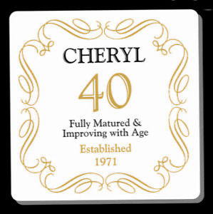 PERSONALISED 40 / 40th BIRTHDAY ANY AGE YEAR  COASTER - GIFT PRESENT