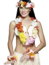 Hawaiian Fancy Dress Deluxe 4 Piece Lei Garland Set Multicolour New by Smiffys