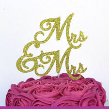 Mrs and Mrs Cake Toppers - Glittery Gold Wedding Cake Topper