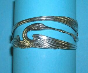 9901002-ds 925er Silber Jugendstil Armreif Armspange Kraniche
