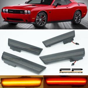 2008-2014 Dodge Challenger Smoke Optic Style LED Side Marker Lights Front & Rear