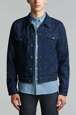 Levis Made & Crafted Blue & Black Denim Trucker Jacket Popper Button Small £210
