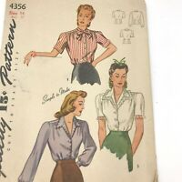 Vintage 1940s Simplicity Sewing Pattern 4356 Blouse 3 Looks Bust 32 PT