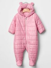 GAP Baby Girl Size 3-6 Months NWT Pink Footed Bear Puffer Coat / Snowsuit w/Ears