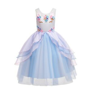ELSA & ANNA® Girl Fancy Dress Snow Queen Princess Unicorn Dress Costume UN2104-B