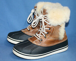 CROCS AllCast Luxe Duck Boot 12812 Women's 9 EUR 39.5 Brown Leather Faux Fur