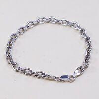 "7"", 5mm, Vintage Sterling Silver Handmade Bracelet, 925 Silver Bold Circle chain"