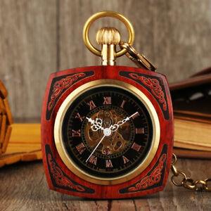 Steampunk Mechanical Automatic Skeleton Men Women Pocket Watch Square Case