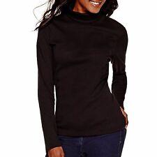 Women Cotton Spandex Long Sleeves Turtleneck T-Shirt Tops Sweater Blouse USA