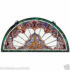 "32.5"" Half Moon Demi Lune Hand Crafted Victorian Style Stained Glass Window"