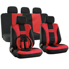 Car Seat Cover Red 17pc for Auto + Steering Wheel/Belt Pad/Head Rests H Stripe