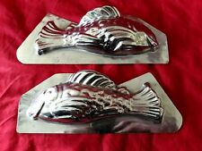 N° 327- ANCIENS MOULES A CHOCOLAT /POISSON 16 cm INOX 2 PARTIES  chocolate mold-
