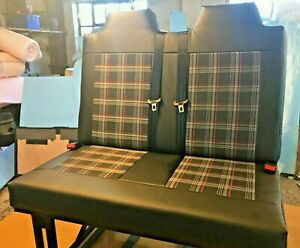 M1 Tested rock and roll bed with Faux leather and VW tartan/check