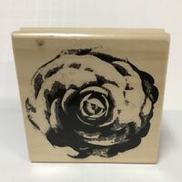 "Rubber Stamp Botanical Flower Romantic Feminine Wood Mounted 3"" Square Block NOS"