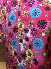 Pin Wheel Flower SCRUB Delta Pink Medical Scrub Top Short Slv V Neck X Body 2XL
