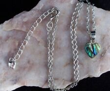 Pāua Abalone Shell 12mm Heart Pendant, Silver Plated Chain Necklace.Handmade