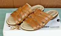 Hush Puppies Dachshund Tan Leather Slide Sandals 9.5 Extra Wide Strappy Comfort