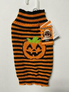 Simply Dog Pumpkin Strips Black/ Orange Sweater New