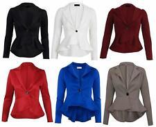 Ladies Womens Peplum Blazer One Button Collared Stretch Coat Jacket Top UK 8-24