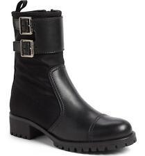 PRADA LINEA ROSSA leather/nylon COMBAT boots 38/8 BLACK NIB