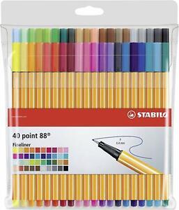 STABILO point 88 Pochette de 40 stylos pointe fine - Multicolore