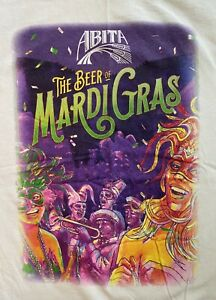 ABITA Beer Of Mardi Gras Mens White T Shirt Sz: L