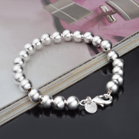 Charm 925 Silver Plated 8MM Beads Bangle Chain Bracelet Women Fashion Jewelry