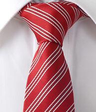 "New Red White Stripes Skinny Slim Woven Silk 2.5"" Men Neckwear Wedding Tie LT139"