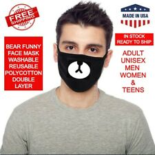Cartoon Face Mask Cover Funny Unisex Bear Mouth Black Cotton Printed Washable