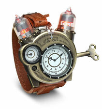 Tesla Steampunk Retro Chronometer LED Brass Vacuum Tube Leather Band Watch