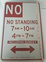 "Vintage NO STANDING Original Metal Street Sign 18"" x 12"""
