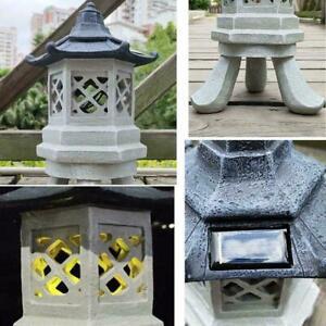 Garten Solar Ornament Chinesischen Pagode, Japanische Decor Laterne Keramik X0M4