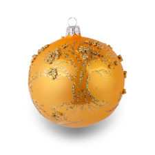 """Foliage - Hand painted blown glass bauble - 4"""" gold blown glass ornament - Chris"""