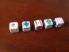 Set of 5 DICE~Spades~Diamonds~King~Jack~Queen~Suites~6 Sided~Blue~Green~Red~VGC!