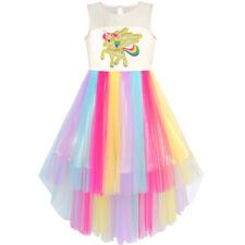 US STOCK! Flower Girl Dress Embroidered Unicorn Rainbow Holiday PageantSize 7-10