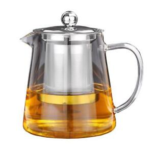 Borosilicate Glass Teapot Kettle Safe Coffee And Tea Maker With Infuser Strainer