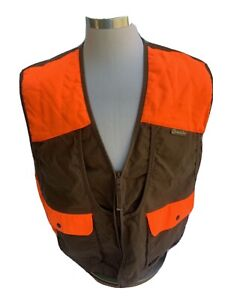Game Hide Brown Orange Cotton Canvase Small Game Hunting Vest Mens XL