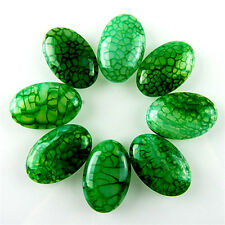 8pcs Green stone Dragon Veins Agate Oval Cab Cabochon beads 30x20x7mm diy
