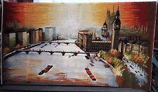 LONDON SCENE LE PARLEMENT à côté de la Tamise Kilim Tapis 51x27 in/130 x 69 cm