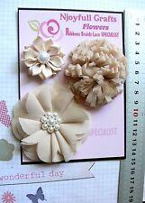 COFFEE CREAM Mix Fabric Organza Satin 3 Flower Pk 40-70mm D2