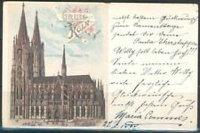 GERMANY PPC GREETINGS FROM KOLN COLOGNE 5/28/1897 TO M. GLADBACH 5/28/1897
