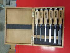 Narex 6 Piece Premium Bevel Edge Chisel Set in Wooden Storage Box CR-MN Steel