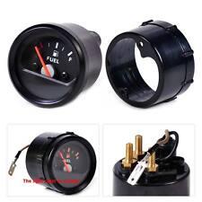 """2""""/52mm 12V Motorcycle Fuel Level Gauge Meter E-1/2-F Pointer Black Face Rim"""