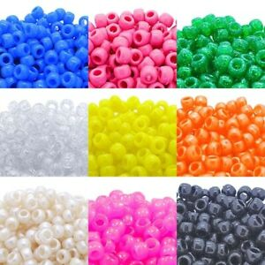 6x9mm Pony Beads 50 Colours x 100 Beads - Dummy Clips, Hair Braiding, Crafts