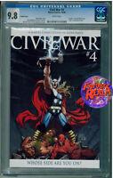 CIVIL WAR #4 THOR VARIANT CGC 9.8 MARVEL COMICS
