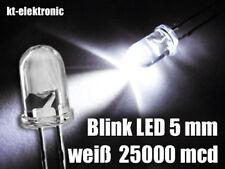 10 Stück Blink-LED 5mm weiß blinkend ca. 2 mal pro Sekunde 1.5-2.5 Hz