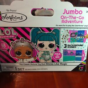 Lol Dolls Colorforms Jumbo On The Go Adventure 3 Scenes 70+ Cling Stickers toy