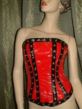 SISSY  Boned Hourglass RED & BLACK PVC Corset   VERY NAUGHTY SEXY size 10