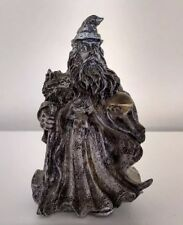 Pewter Wizard Figurine Holding Crystal Ball & Wolf Head Staff